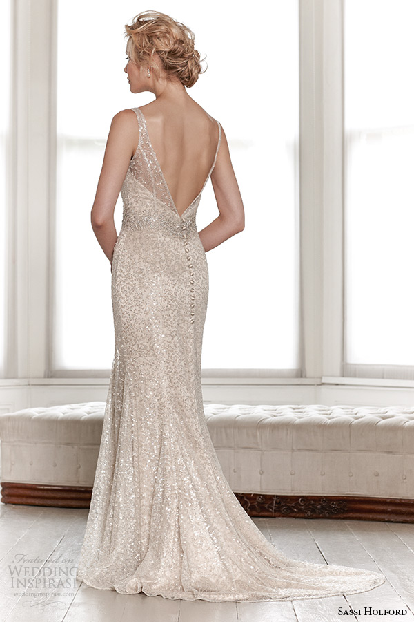 sassi holford wedding dress 2015 bridal signature collection boat neckline sleeveless shimmering sheath dress with v shaped open back style leah back