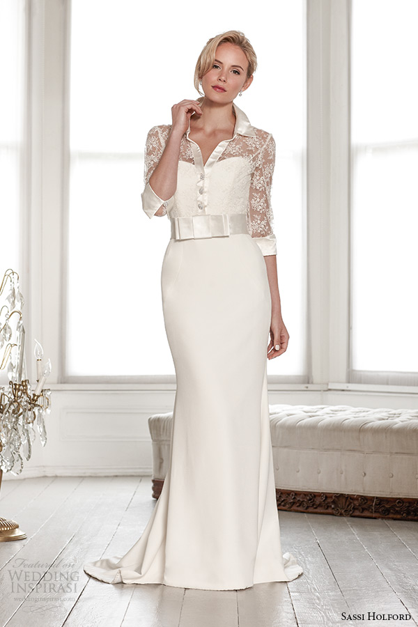 sassi holford wedding dress 2015 bridal signature collection catrina three quarter sleeve shirt strapless sweetheart sheath style cartrina