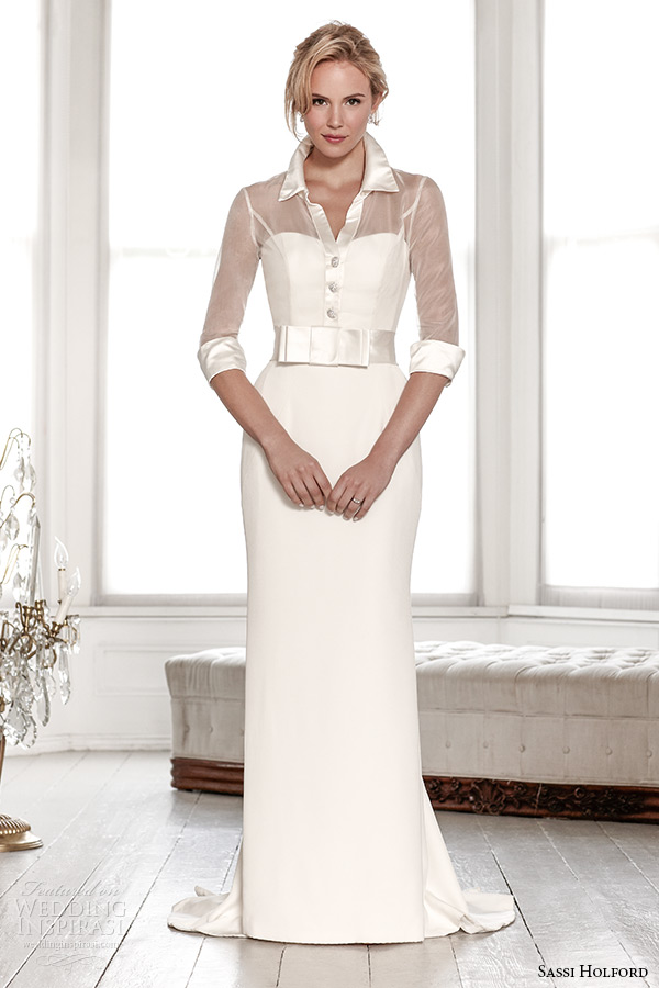 sassi holford wedding dress 2015 bridal signature collection collar sheer three quarter sleeve shirt sheath dress style veronica