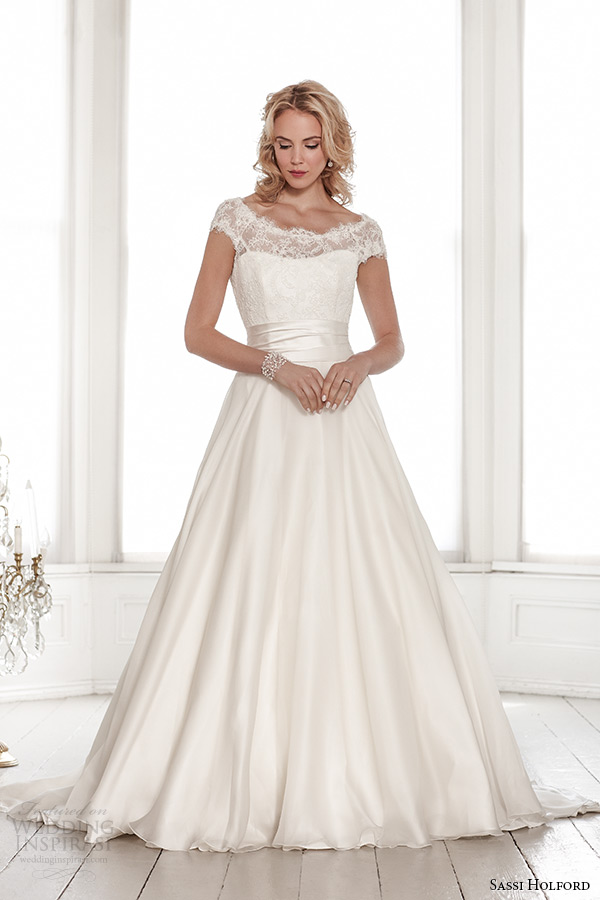 sassi holford wedding dress 2015 bridal signature collection lace boat neckline cap sleeves  a line style alexandra front