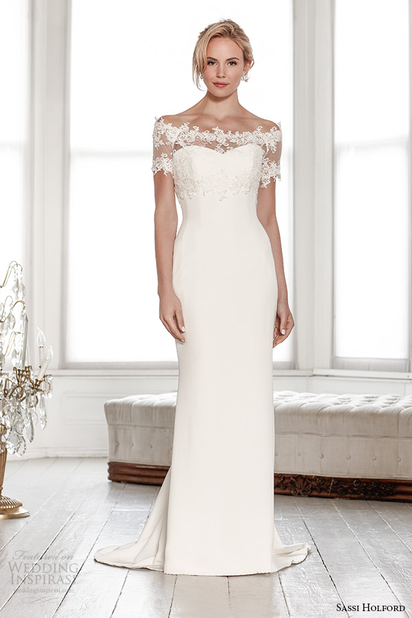 sassi holford wedding dress 2015 bridal signature collection lace shrug off the shoulder sweetheart sheath style camilla