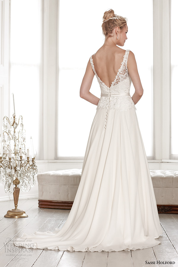 sassi holford wedding dress 2015 bridal signature collection lace strap sheer neckline top with belt a line low v cut back dress style isla back