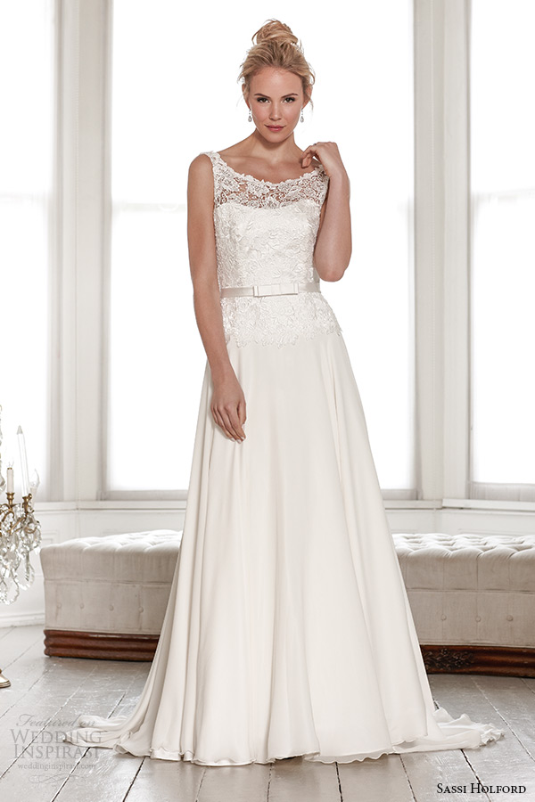 sassi holford wedding dress 2015 bridal signature collection lace strap sheer neckline top with belt a line low v cut back dress style isla