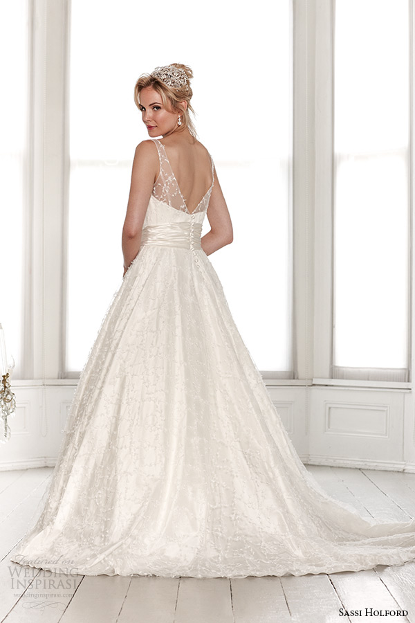 sassi holford wedding dress 2015 bridal signature collection scoop illusion neckline with sash a line dress style marianne back