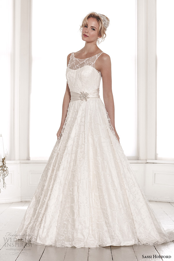 sassi holford wedding dress 2015 bridal signature collection scoop illusion neckline with sash a line dress style marianne