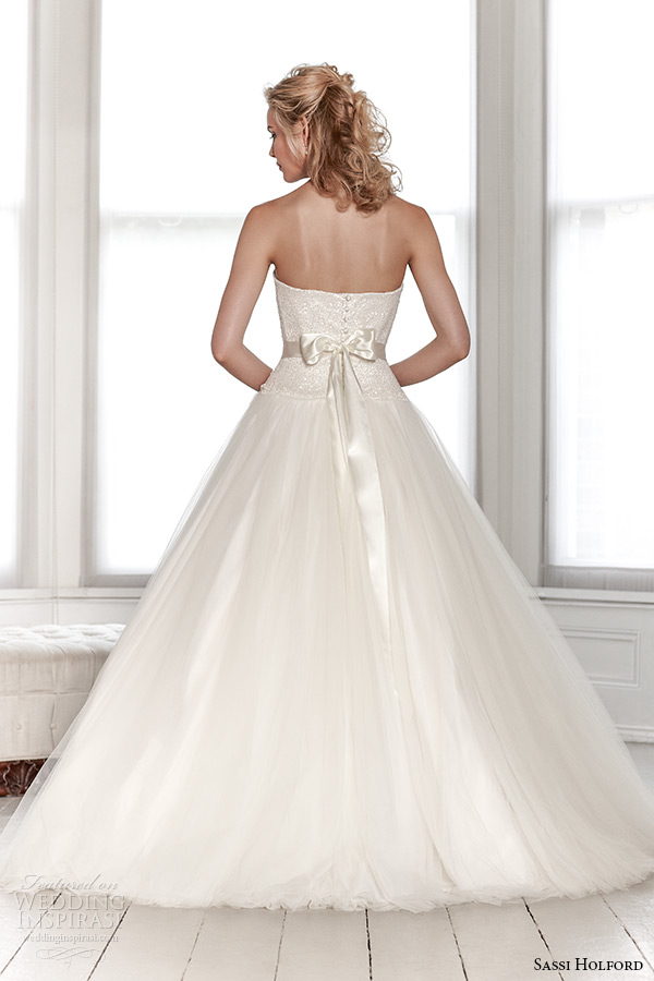 sassi holford wedding dress 2015 bridal signature collection semi sweetheart shimmering top tulle skirt with belt dress style summer back