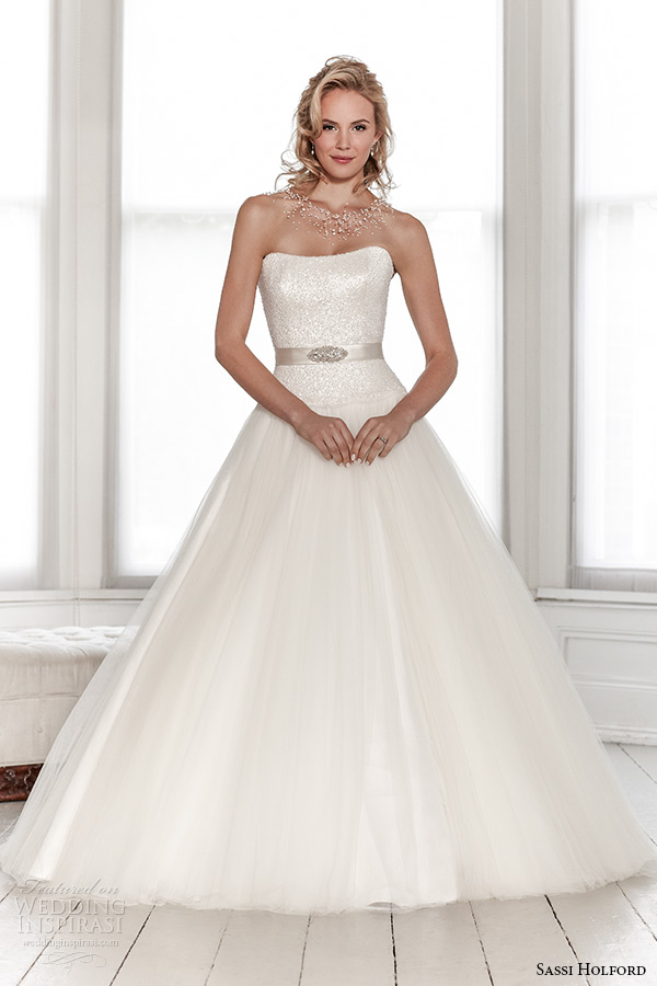 sassi holford wedding dress 2015 bridal signature collection semi sweetheart shimmering top tulle skirt with belt dress style summer front