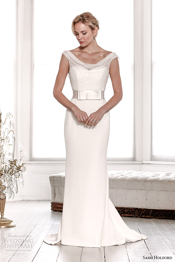 sassi holford wedding dress 2015 bridal signature collection sequin top with belt sheath dress style charlotte