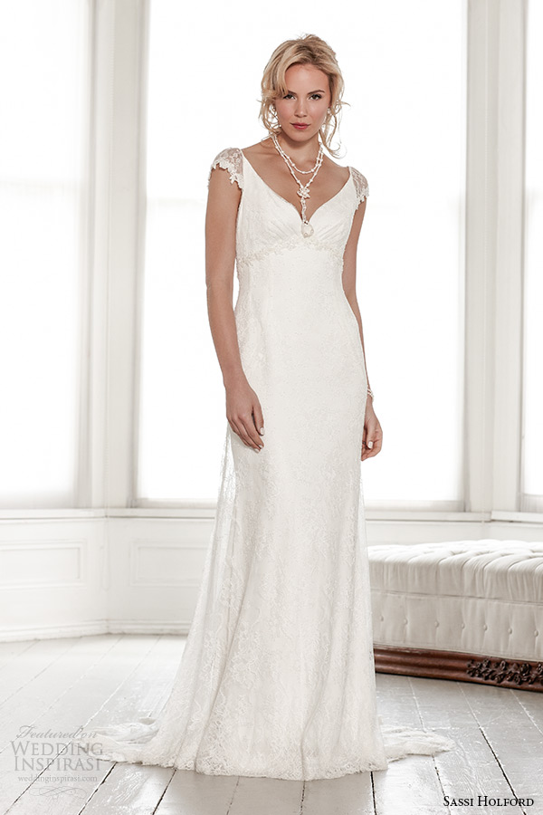 sassi holford wedding dress 2015 bridal signature collection sheer cap sleeves v neck empire dress style fleur