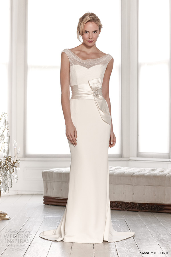 sassi holford wedding dress 2015 bridal signature collection spot top with belt sheath dress style charlotte