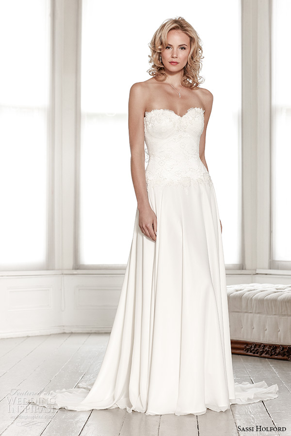 sassi holford wedding dress 2015 bridal signature collection strapless sweetheart lace top a line dress style portia