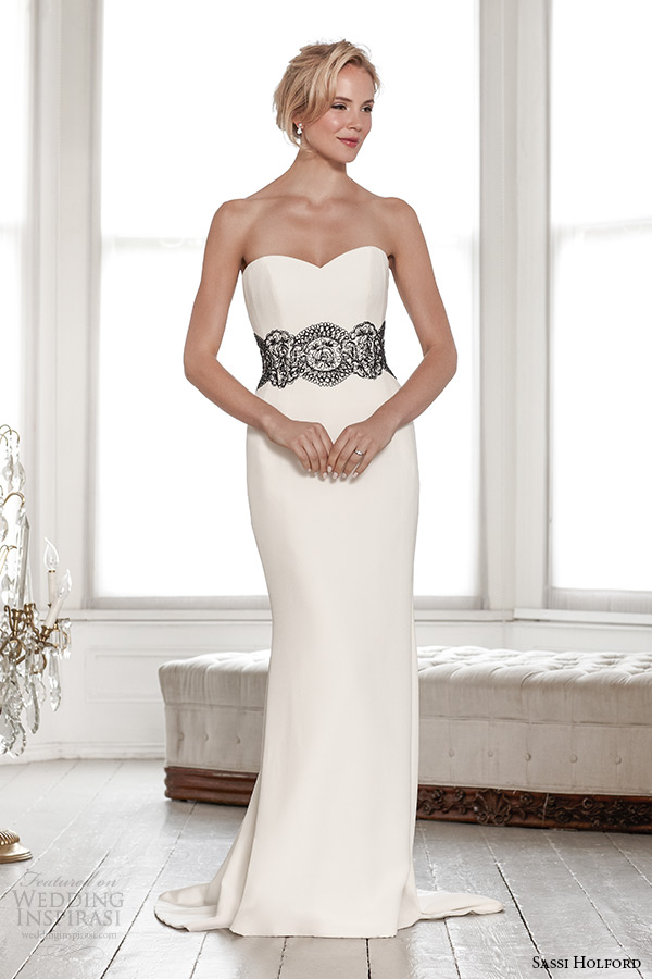 sassi holford wedding dress 2015 bridal signature collection strapless sweetheart neckline black lace belt sheath dress style francine