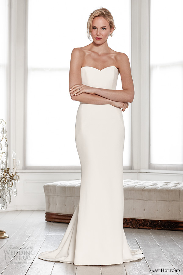 sassi holford wedding dress 2015 bridal signature collection strapless sweetheart neckline sheath dress style jessica