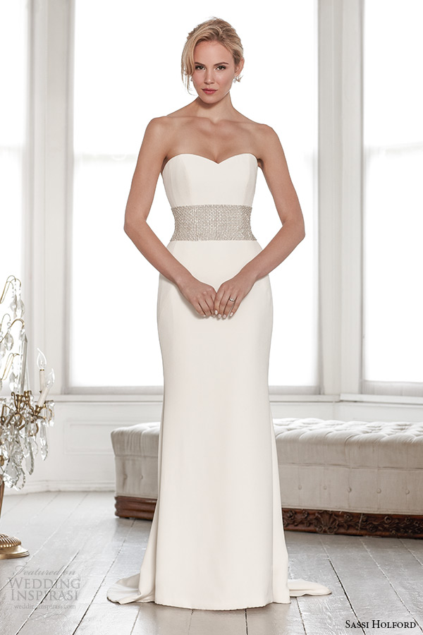 sassi holford wedding dress 2015 bridal signature collection strapless sweetheart neckline sheath dress with belt style joelle