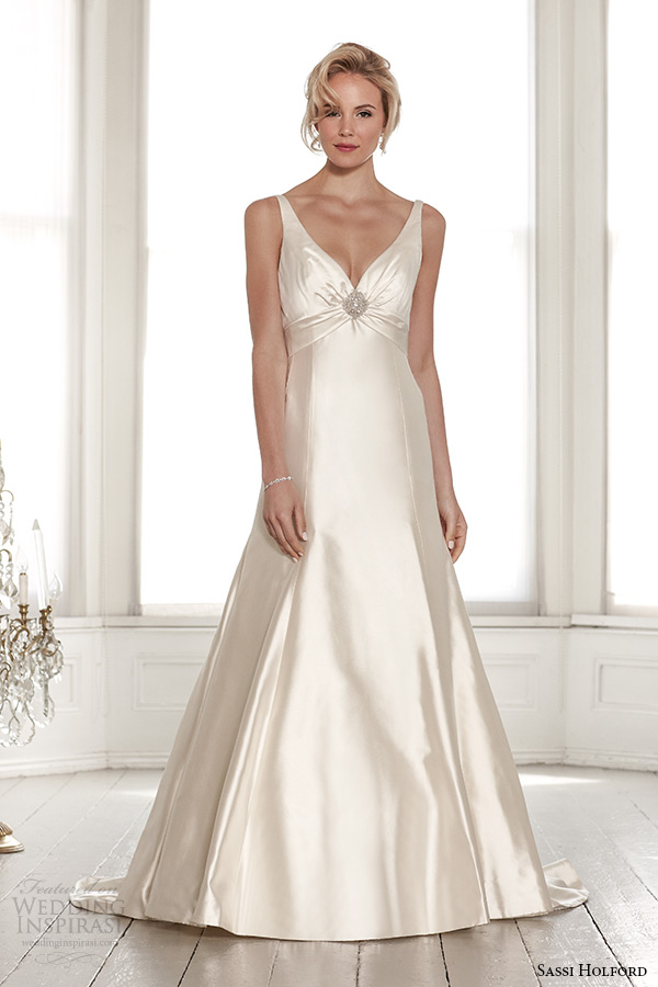 sassi holford wedding dress 2015 bridal signature collection sweetheart neckline with strap low cut v back sheath dress style harper