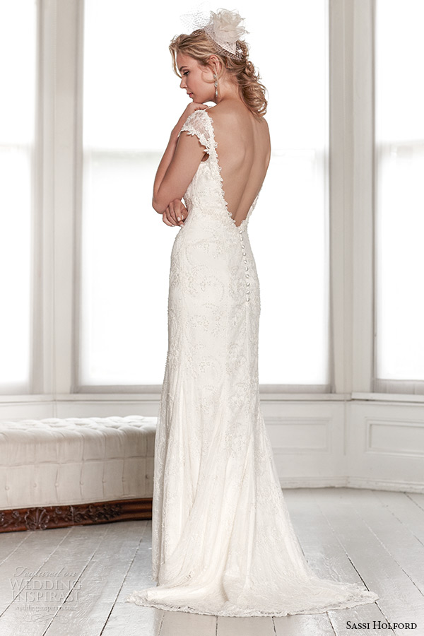 sassi holford wedding dress 2015 bridal signature collection v neckline cap sleeves v shaped low cut open back dress style rio back