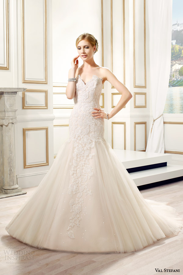val stefani bridal spring 2015 style d8081 eliza strapless fit flare sweetheart ivory taupe