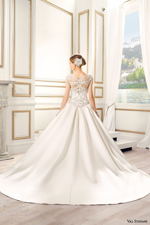 val stefani bridal spring 2015 style d8082 sandrine embellished cap sleeve ball gown wedding dress illusion beaded back view train