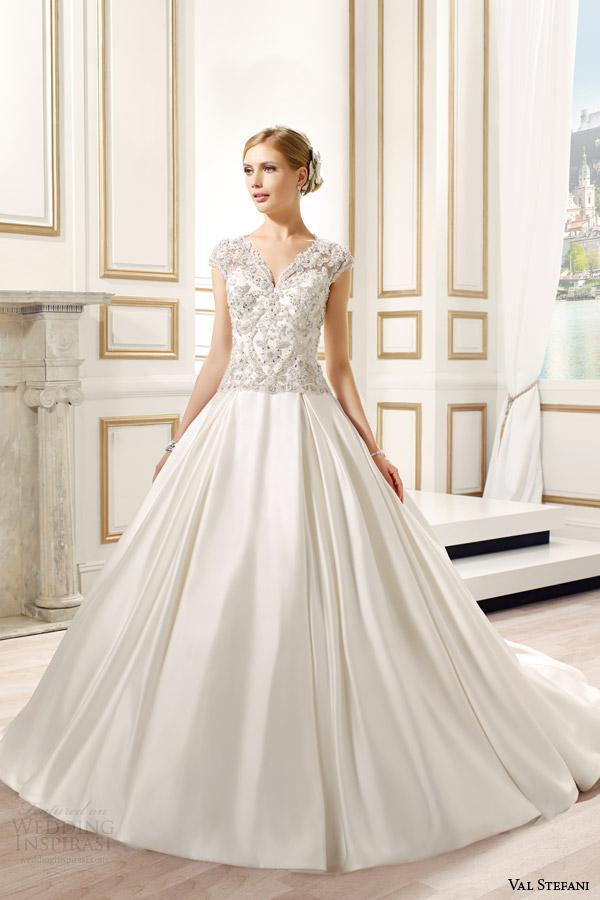 val stefani bridal spring 2015 style d8082 sandrine embellished cap sleeve ball gown wedding dress