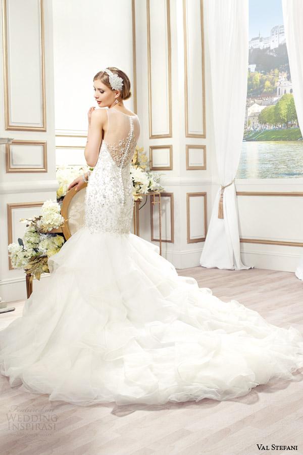 val stefani bridal spring 2015 style d8083 cosima sleeveless mermaid wedding dress silver embroidery swarovski crystals back view
