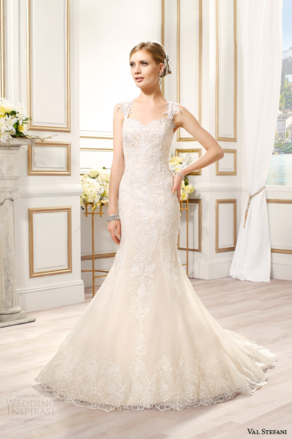 Val Stefani Bridal Spring 2015 Style D8084 Danica Mermaid Wedding Dress Embroidered Applique Straps