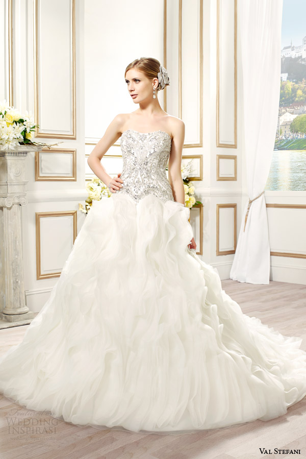 val stefani bridal spring 2015 style d8086 marisol strapless ball gown wedding dress silver embroidery swarovski crytal sweetheart bodice