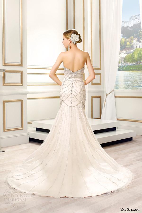 val stefani bridal spring 2015 style d8088 lumina strapless sweetheart fit flare swarovski crystal bodice back view train