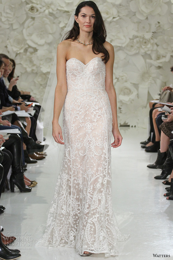 watter brides bridal spring 2015 strapless sweetheart neckline almond beaded embroidery a line wedding dress nyra 705bb