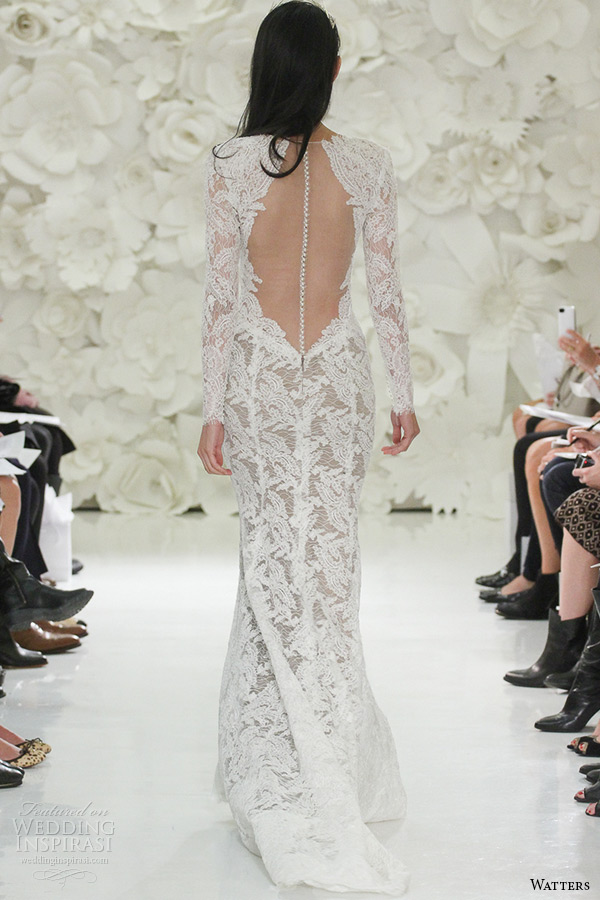 watter brides spring 2015 bridal long sleeves plunging neckline fit flare sweep train wedding dress aziza 7054b back