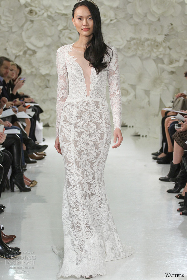 watter brides spring 2015 bridal long sleeves plunging neckline fit flare sweep train wedding dress aziza 7054b