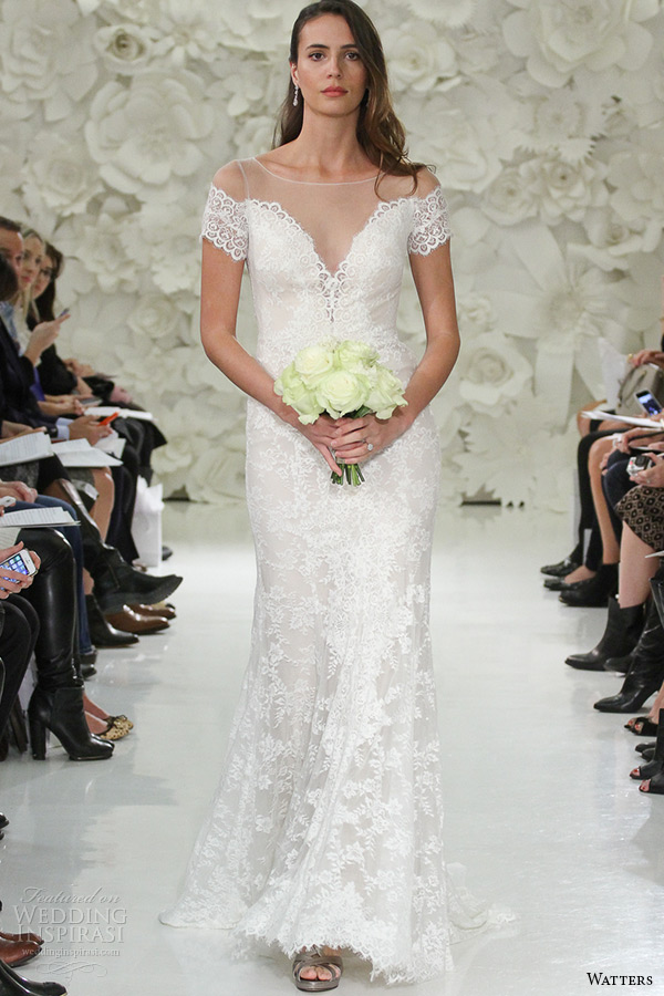 watter brides spring 2015 bridal off the shoulder deep v neckline sweep train fit flare wedding gown mila 7014b