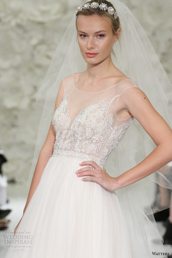 watter brides spring 2015 bridal sleeveless almond sheer plunging neckline jewel corset a line wedding gown kian corset 7062b zoom