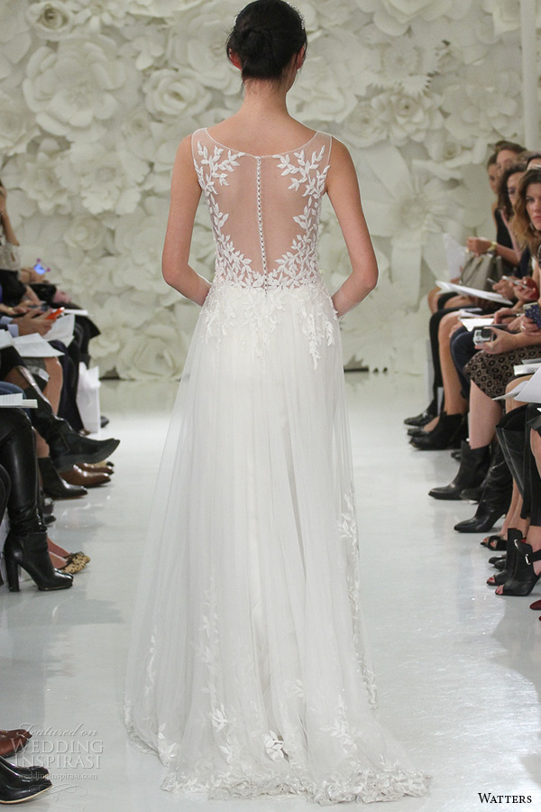 watter brides spring 2015 bridal sleeveless sheer plunging neckline beaded leaf embroidery sheath wedding gown lalai 7083b back