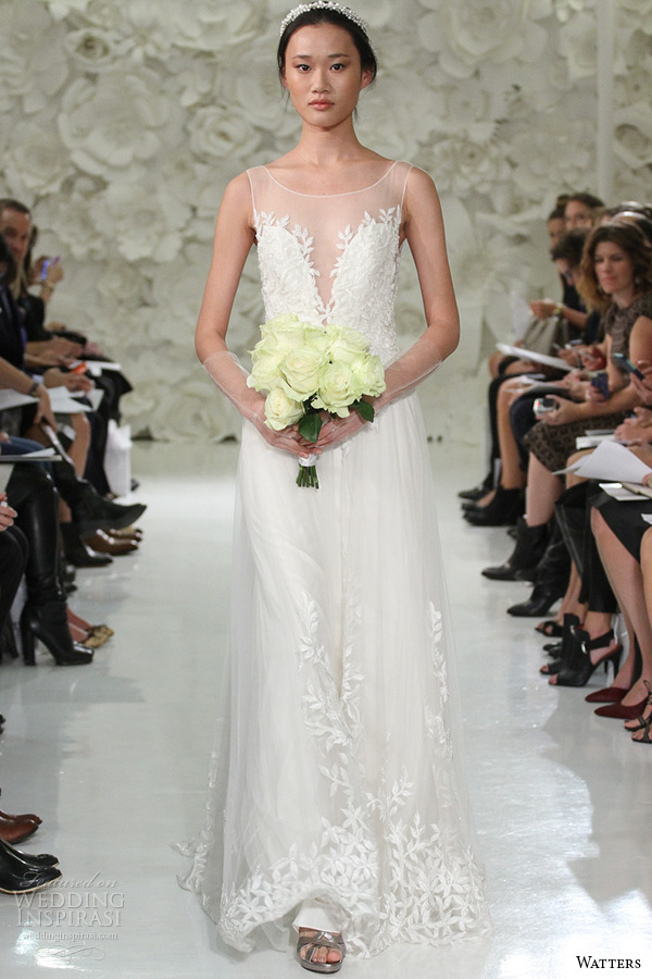 watter brides spring 2015 bridal sleeveless sheer plunging neckline beaded leaf embroidery sheath wedding gown lalai 7083b