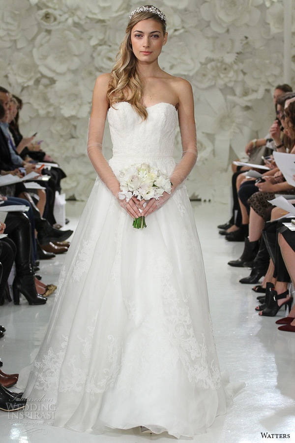 watter brides spring 2015 bridal strapless sweetheart ivory a line sweep train asher 7000b