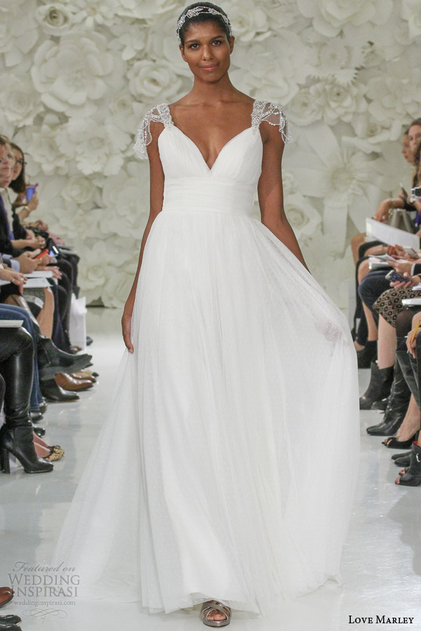 Watters Love Marley Bridal Spring 2017 Lola Dotted Tulle A Line Wedding Dress Beaded Cap Sleeves