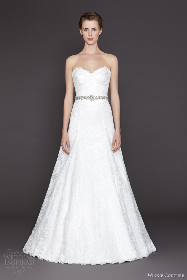 winnie couture bridal 2015 alethea strapless lace wedding dress sweetheart neckline belt