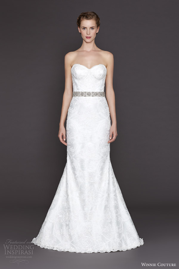 winnie couture bridal fall 2015 lacey strapless sheath lace gown beaded belt