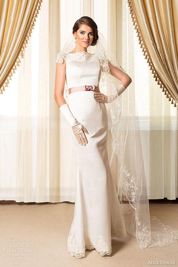 alice design bridal 2015 cap sleeve wedding dress sheath silhouette high neckline