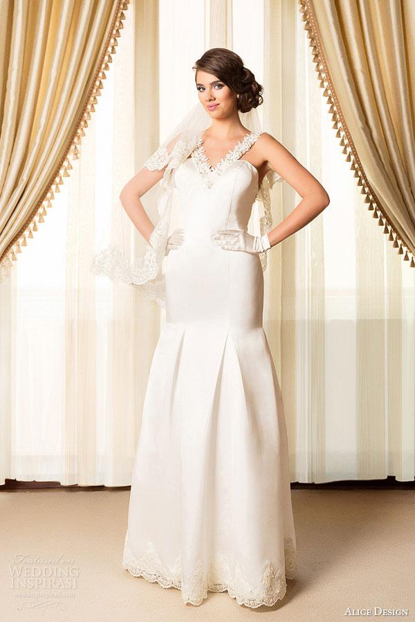 alice design bridal 2015 mermaid wedding dress v neck embellished straps