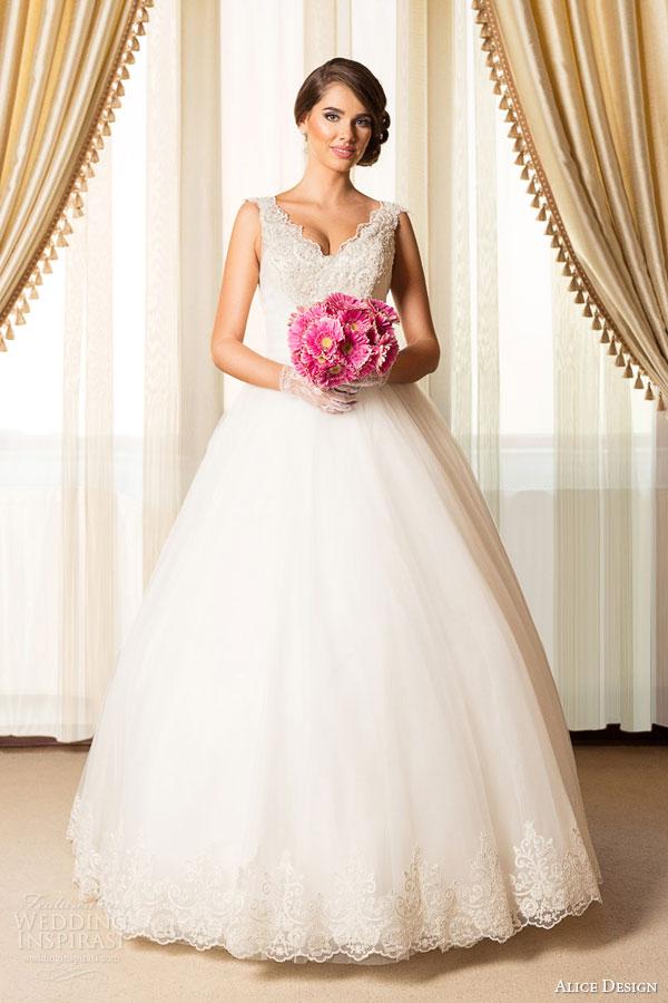 alice design bridal 2015 sleeveless ball gown wedding dress scallope v neckline