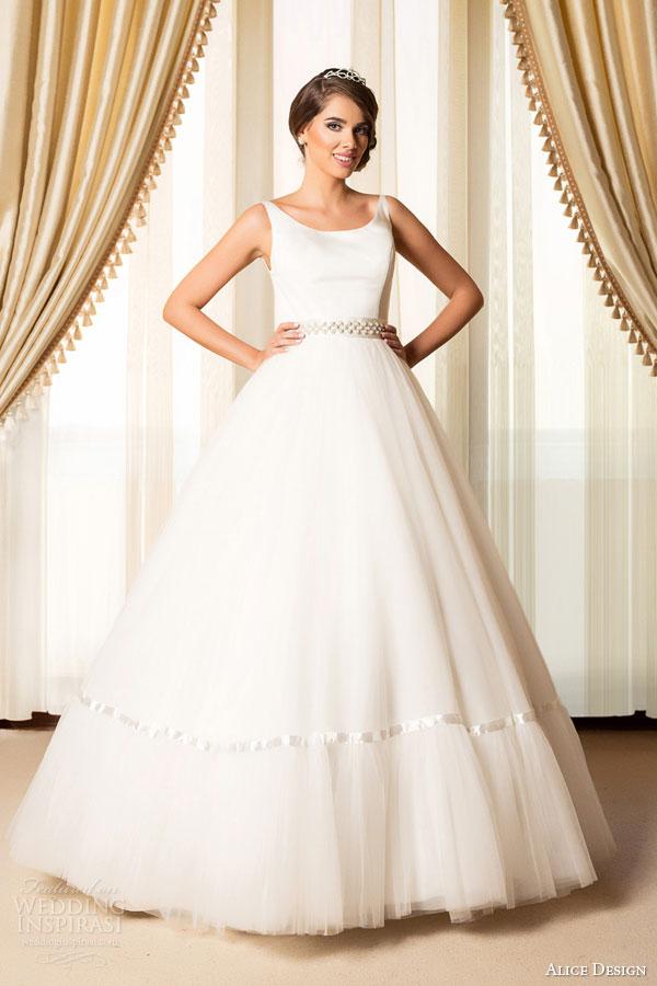 alice design bridal 2015 sleeveless full a line ball gown wedding dress scoop neckline