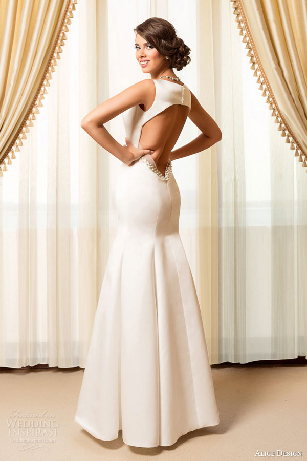 alice design bridal 2015 sleeveless mermaid wedding dress v neckline beaded waist keyhole back