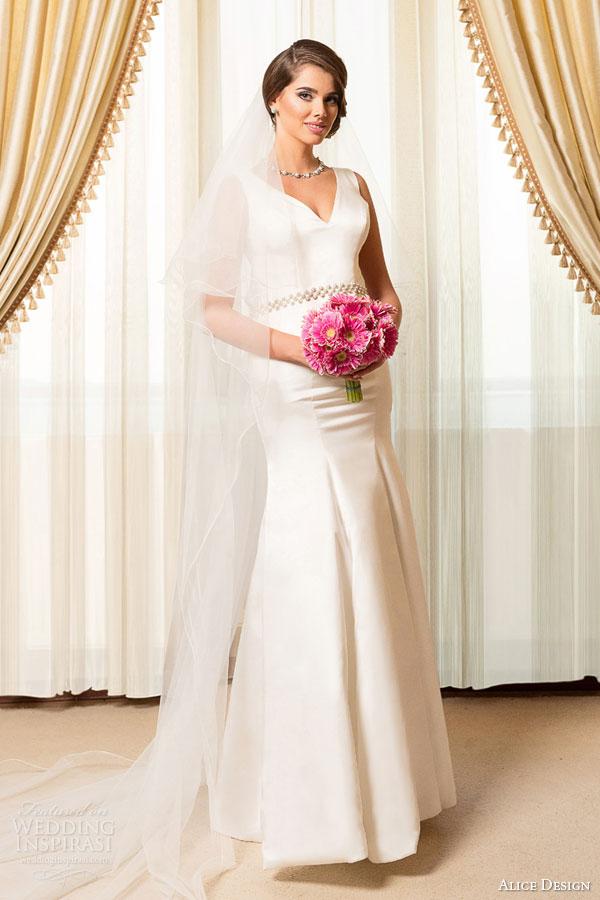 alice design bridal 2015 sleeveless mermaid wedding dress v neckline beaded waist