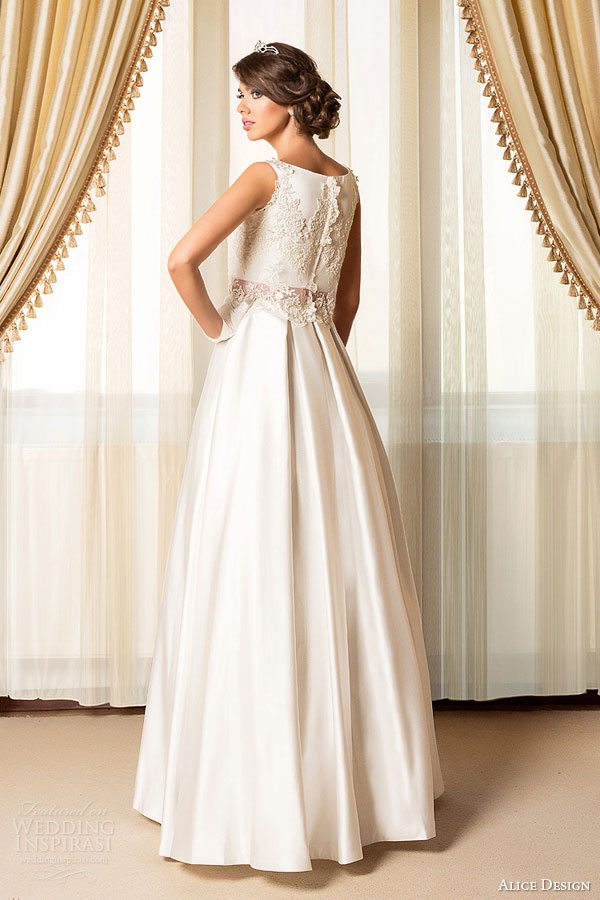 Alice Design Bridal 2017 Wedding Dress Lace Top A Line Skirt Back View