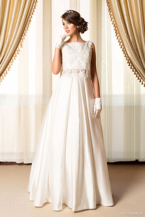 alice design bridal 2015 wedding dress lace top a line skirt