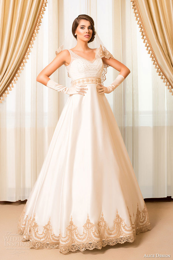 alice design bridal 2015  wedding dress sleeveless ball gown gold lace