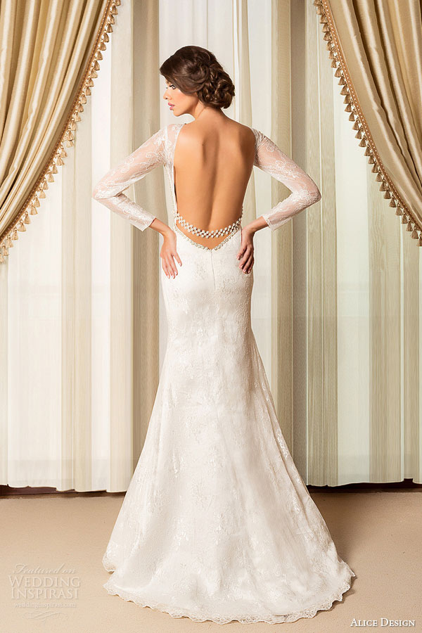Wedding Dress Long Sleeves Low Back