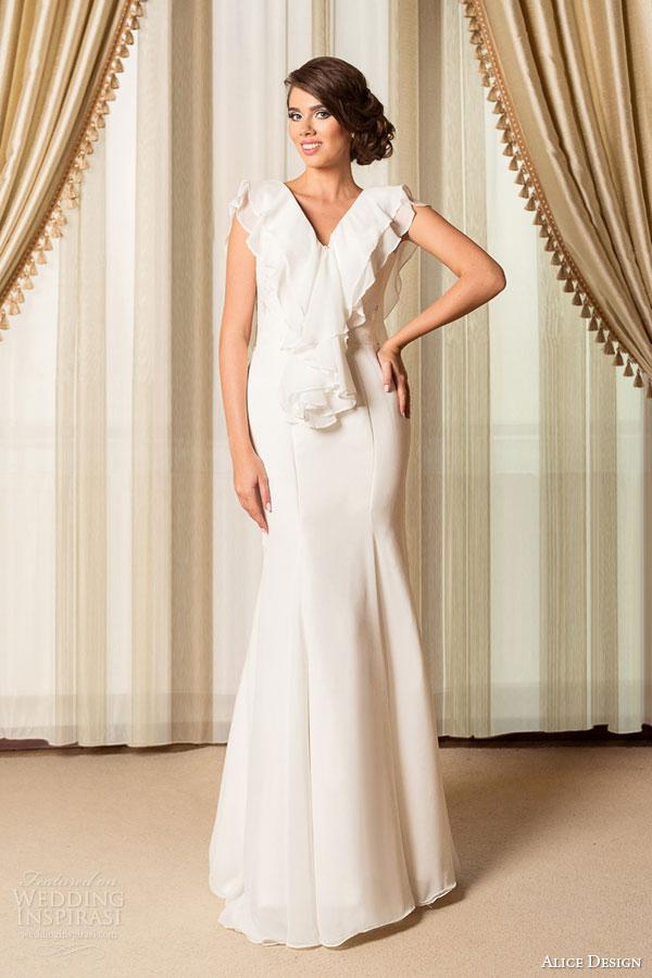 alice design wedding dresses 2015 bridal mermaid wedding dress v neck flutter sleeves