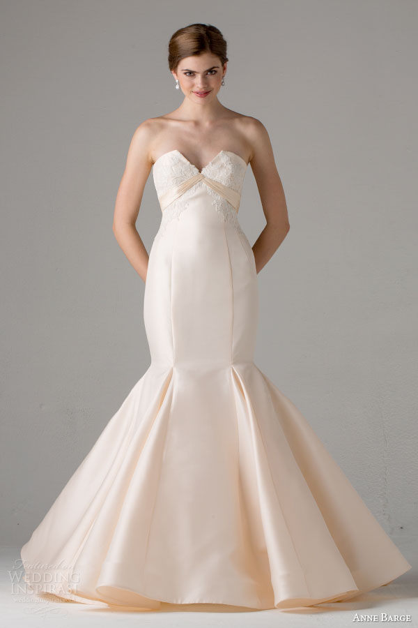 anne barge bridal fall 2015 arles strapless mermaid wedding dress peach split neckline